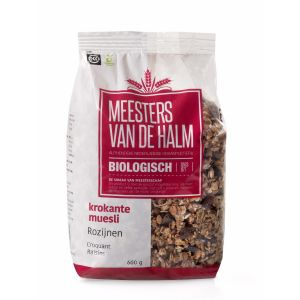 De Halm Krokante Muesli Rozijn (500 gram)