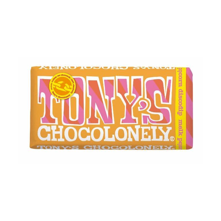 Tony's Chocolonely Melk Popcorn & Discodip