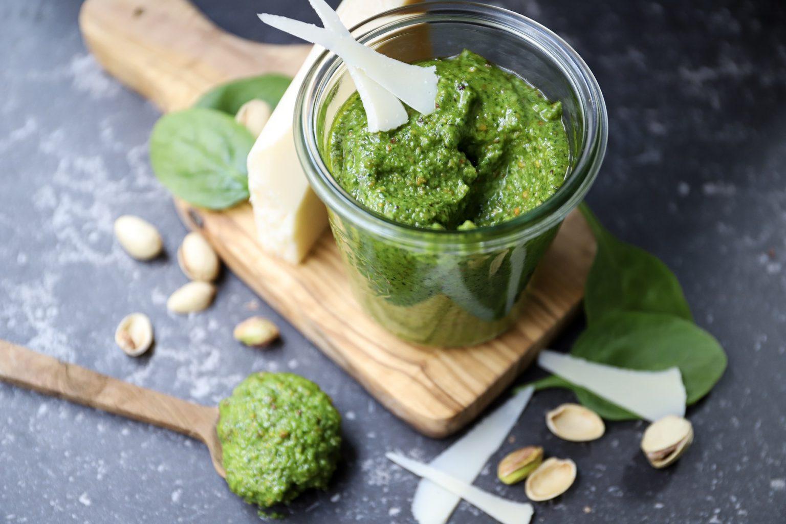 Pistache pesto met spinazie