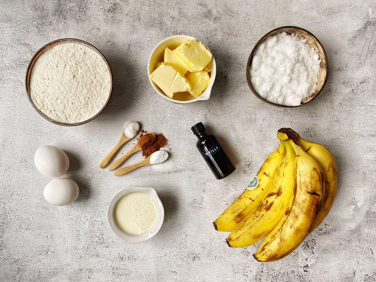 Ingrediënten voor bananenbrood