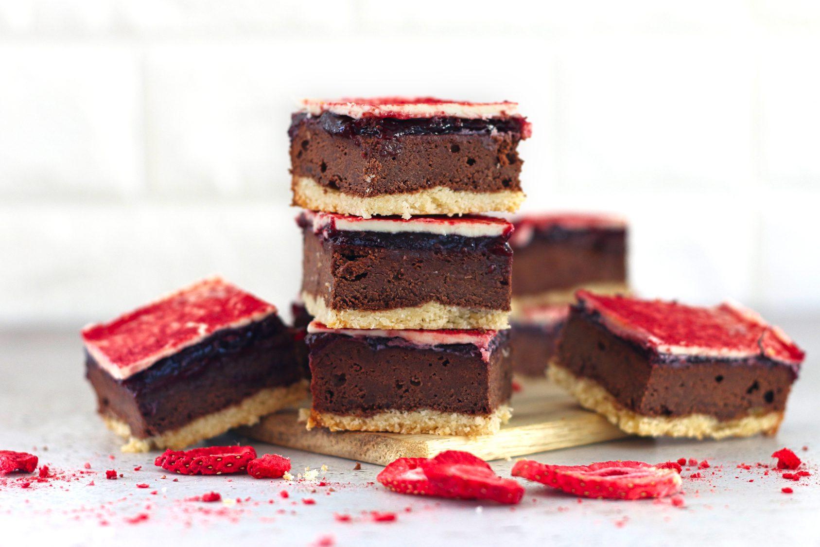 Koolhydraatarme aardbeien brownie shortbread