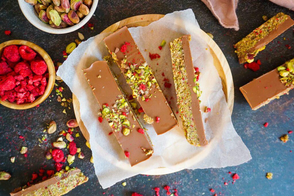 No bake pistache frambozen bars